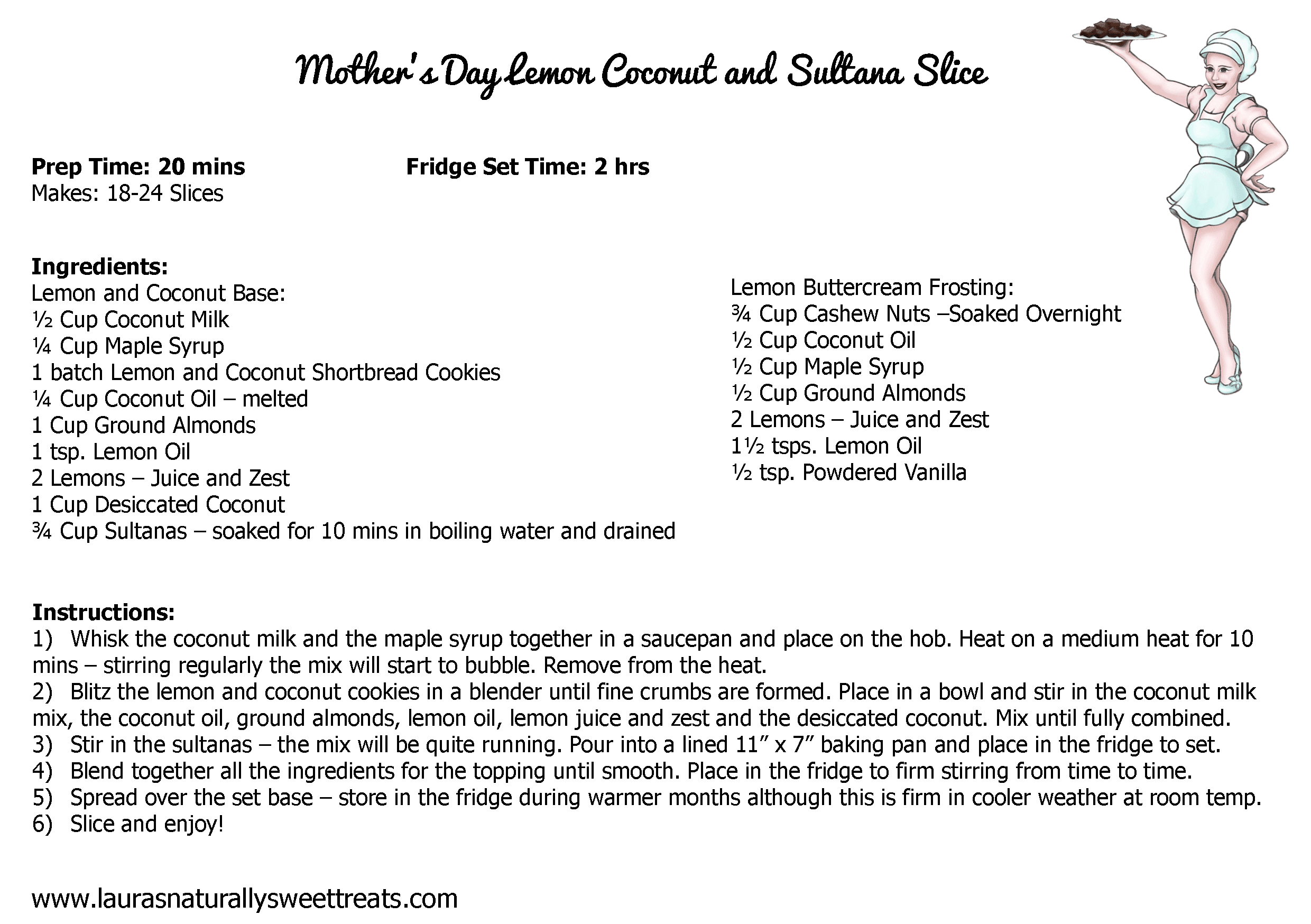 mothers day lemon coconut and sultana slice recipe card