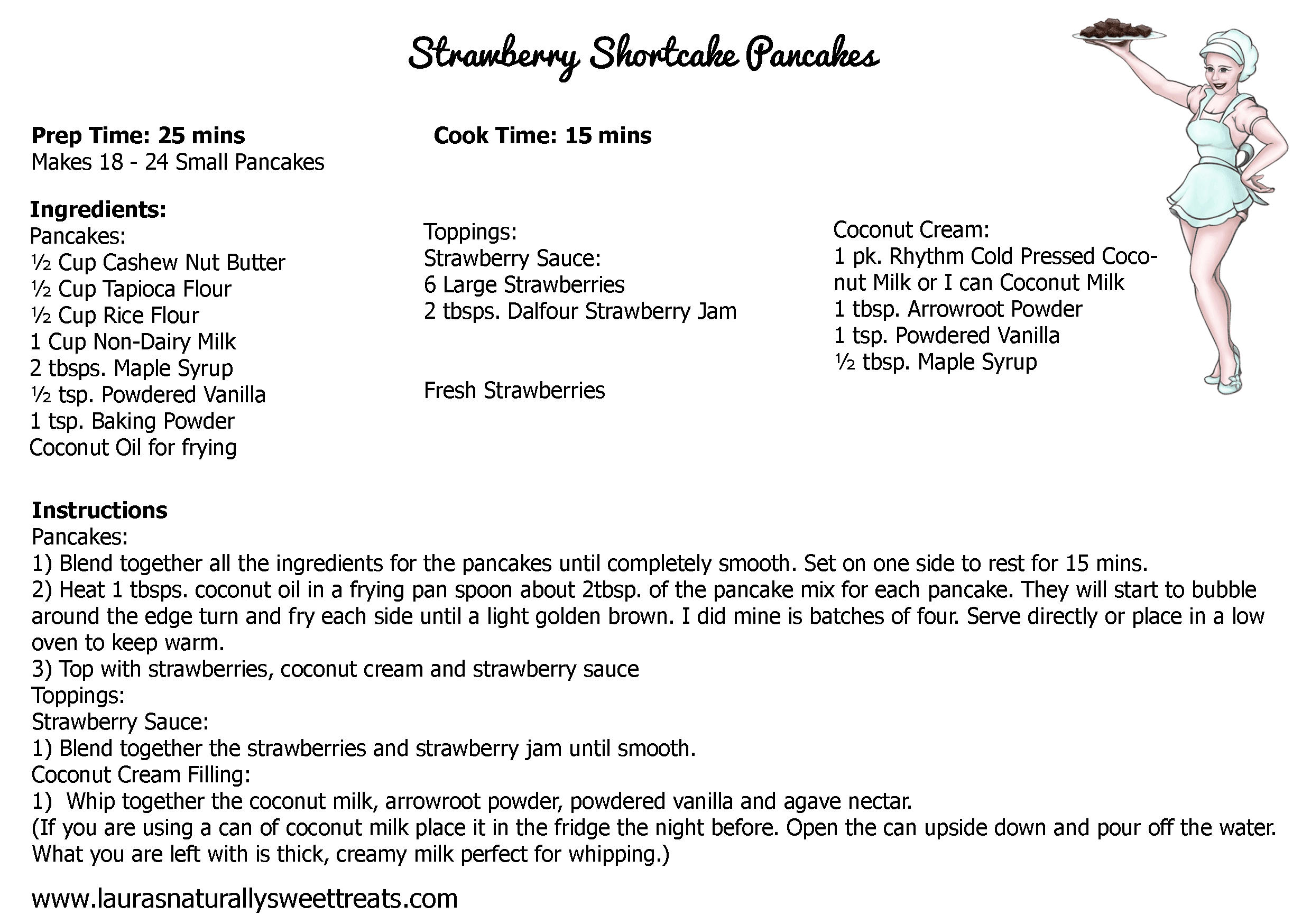 strawberry shortcake pancakes recipe card