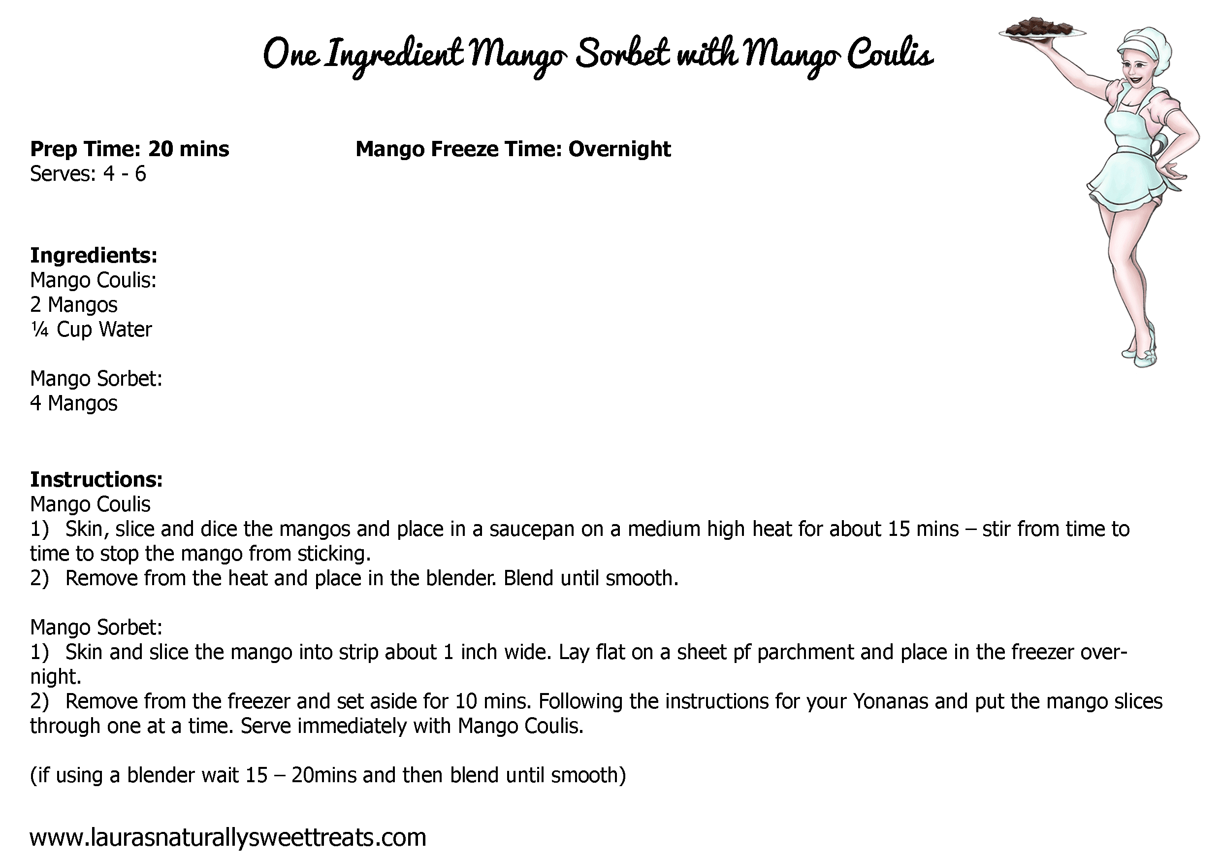 one ingredient mango sorbet with mango coulis recipe card