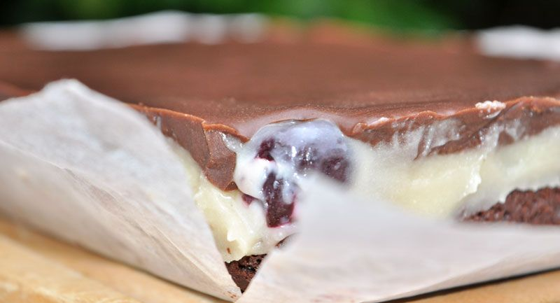 Chocolate Almond Cherry Brownie Slice