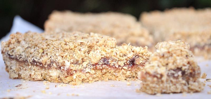 Peanut Butter and Jam Breakfast Slice