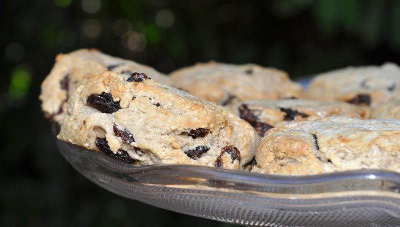 Raisin Scones With Strawberry Jam