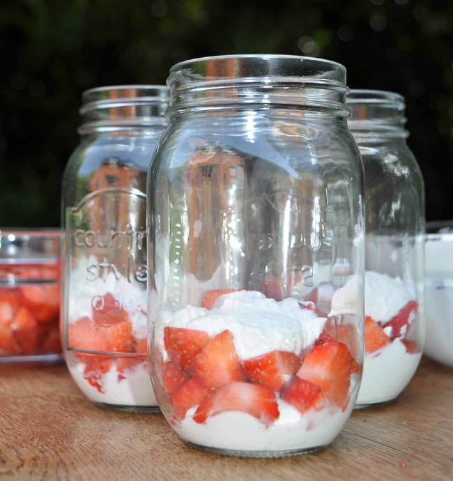 Strawberries and Cream in a Jar