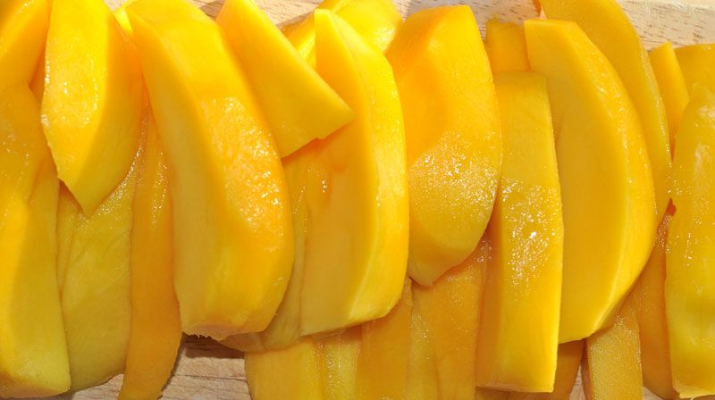 One Ingredient Mango Sorbet with Mango Coulis